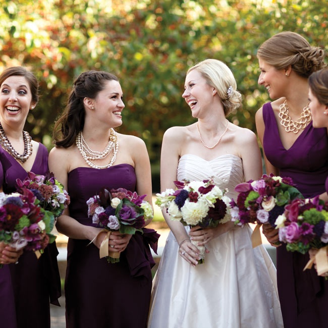 Melissa's five maids chose their own style dress in the same eggplant color and added some personal flair with statement necklaces.