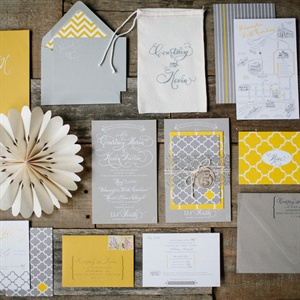 When it came to their invitations, the couple knew they wanted something fun and different. The bold patterns went on to inspire the rest of the wedding décor.