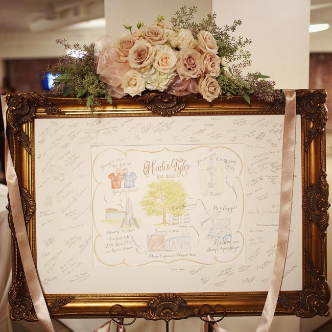 Instead of a traditional guest book, friends and family signed a piece of art which detailed important moments in the couple's relationship.