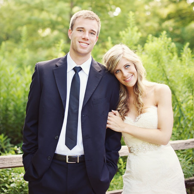 Heidi wore a lace-detailed gown with a pearl-and-crystal belt. Tyler chose a classic black suit and skinny tie for their day-after photo shoot.
