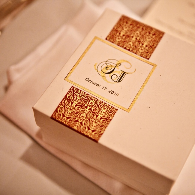 Their colors were gold and burgundy for the Hindu ceremony, so each favor was packaged up and labeled to coordinate. Inside each box were delicious Indian sweets from Royal Sweets for the guests to indulge in.