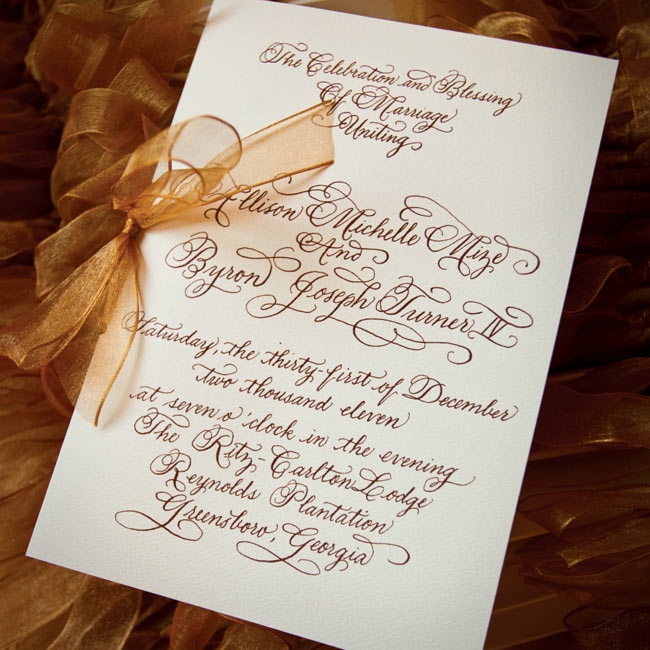 Flourished copper-colored script topped the elegant letterpress invitations.