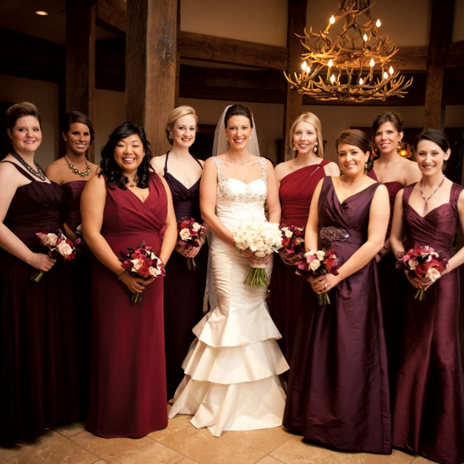 Each girl wore a different dress ranging from deep red to eggplant purple.