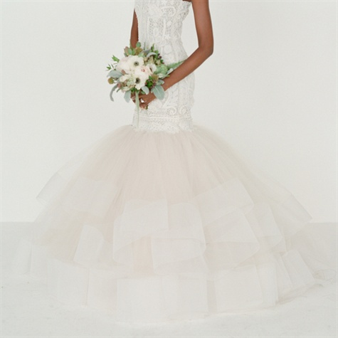 Lazaro Gown with Tulle
