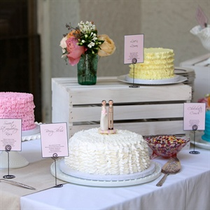 Along with a lemon-raspberry cake, the couple served various other cakes, candies and cobbler.
