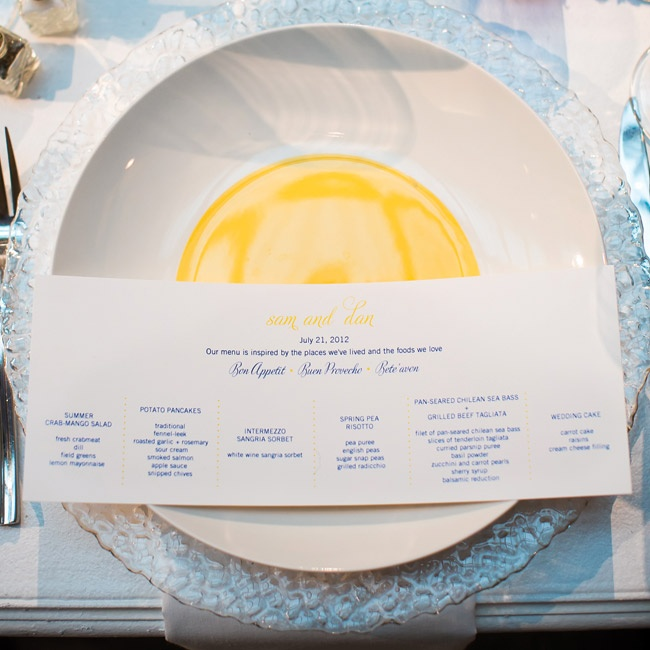 The rectangular menu cards were set atop cheery, yellow-centered plates. Bubble-glass chargers made for a fun addition.