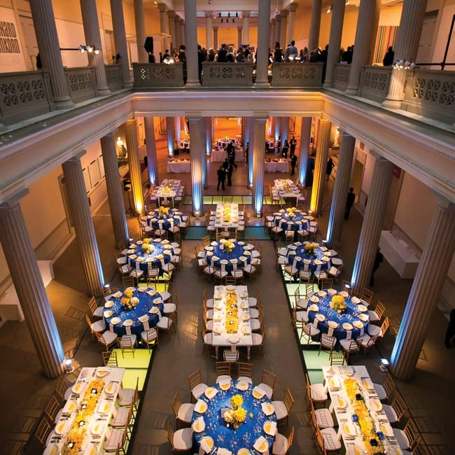 The couple loved the versatility of the cavernous Corcoran Gallery of Art. They held the ceremony on the top floor of the atrium and the reception below.