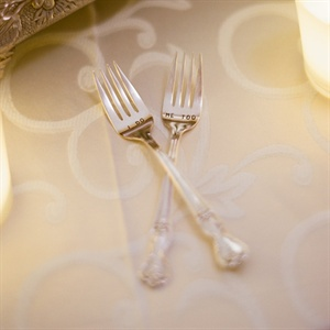 The couple used these sweet forks for their first bites of the wedding cake.