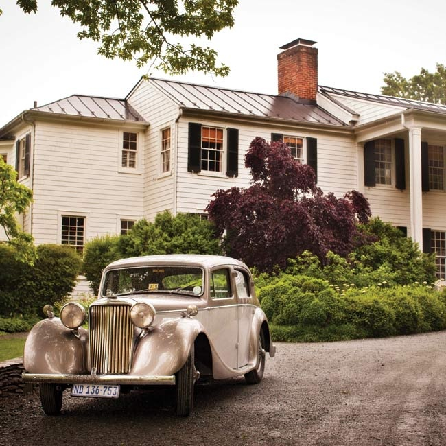 The couple traveled from the ceremony to the reception in this classic Cadillac.