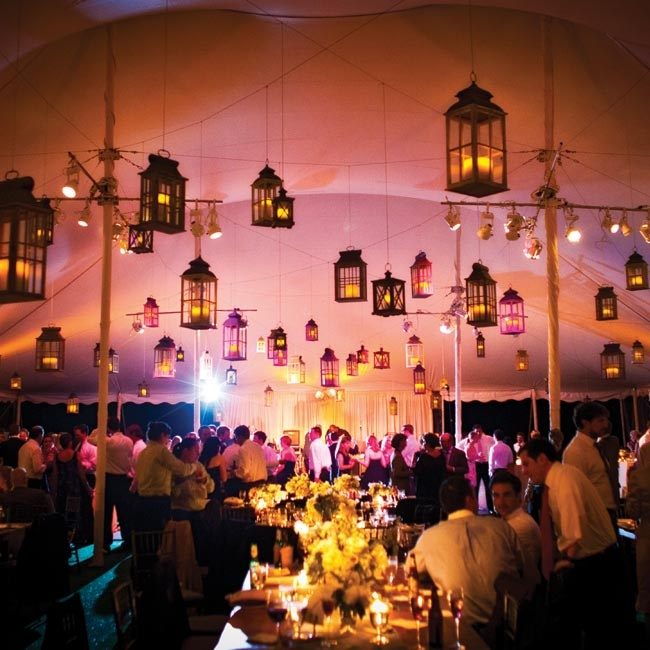 Different-size lanterns were hung at varying heights from the tent's ceiling, creating a truly magical effect as the night wore on.
