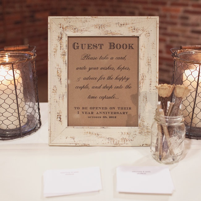 Guests wore down their wishes, advise and hopes for the couple to read on their one-year anniversary.