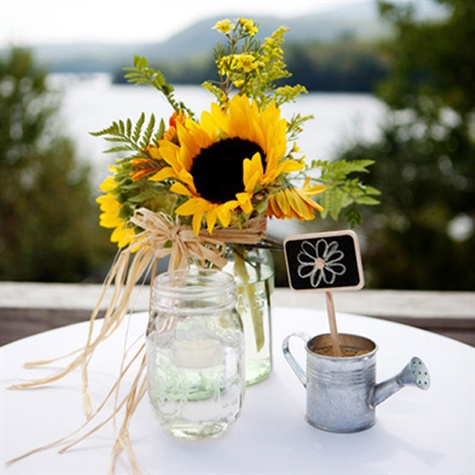Rustic Sunflower and Mason Jar Centerpiece