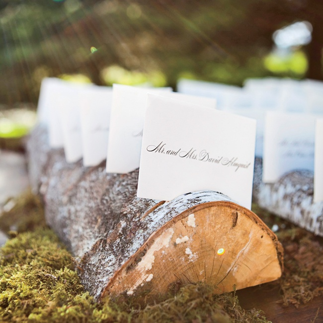 These rustic escort cards matched the reception decor perfectly.
