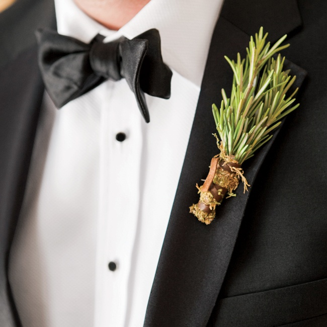Paying tribute to the rugged locale, the guys wore sprigs of fresh rosemary wrapped with leather ties.