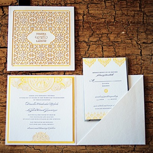 A Moroccan-inspired yellow letterpress-printed and laser-cut suite spoke to the exotic nature of the destination and mimicked the intricate metalwork of the lanterns that decorated the reception.