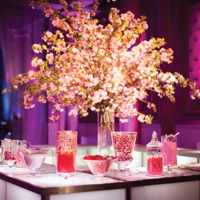 As a sweet addition, pink candy was set out for guests to take