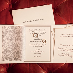 The couple&#39;s formal invitations fit well with the enchanted urban theme.