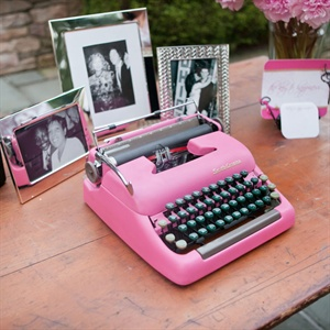 Guests left their well wishes to the couple on this pink 1950s typewriter.