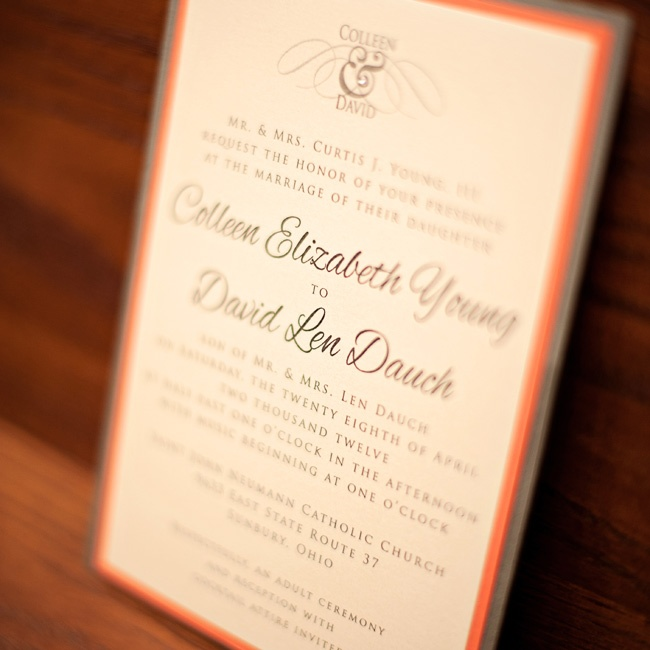 Colleen and David chose elegant graphite-and-persimmon invitations.