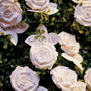 Guests found their seats with handcrafted paper-rose escort cards.