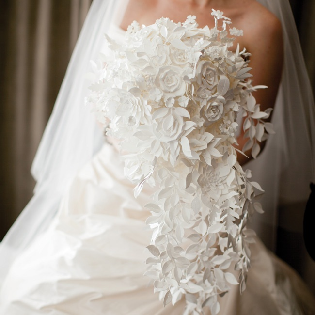 Tana made her cascading bouquet by crafting roses, hydrangeas, peonies and ivy leaves out of paper.