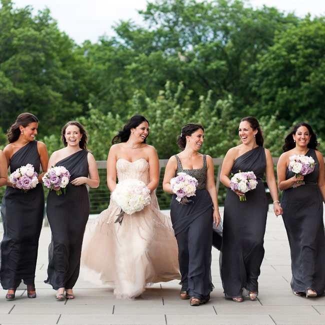 All the girls wore gray floor-length gowns.