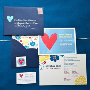 Much of the day's design was inspired by the couple's cheerful invitation suite.