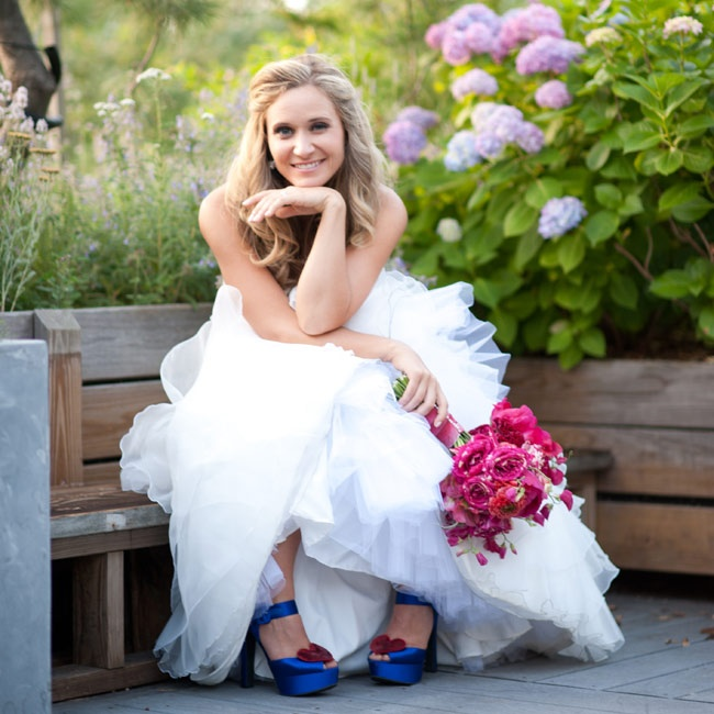 "Sarah says she ""felt like a very beautiful version of myself"" in her strapless, fit-and-flare layered organza gown."