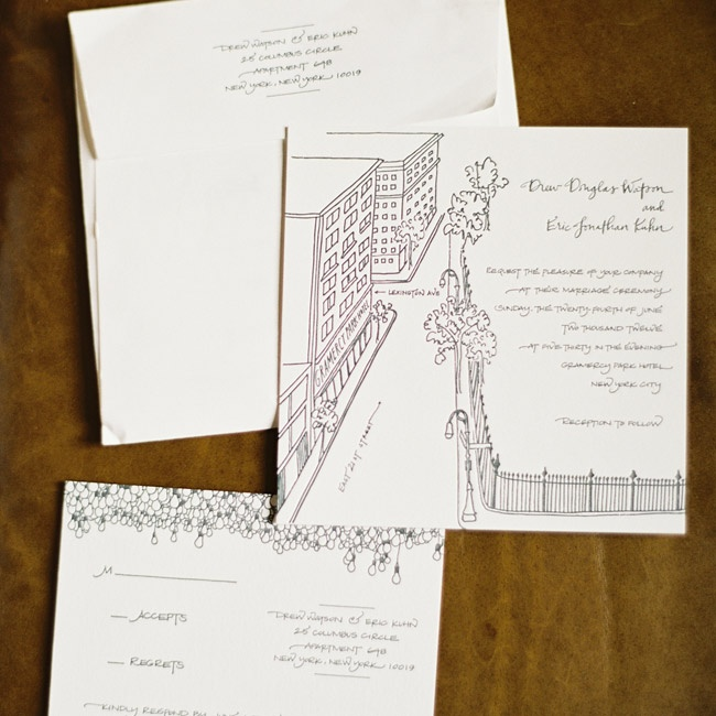 The couple actually found their invites by accident! They loved the hand-drawn map of the area by the hotel.