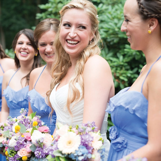 The bridesmaids wore hydrangea-blue crinkle chiffon dresses.