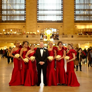 These pretty structured red bridesmaid dresses by Lazaro were the perfect silhouette and color for Libbey and Adam's New York City wedding.