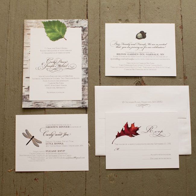 The invitations had a birch-bark-print background, while the other cards featured images of a leaf, a dragonfly and an acorn.
