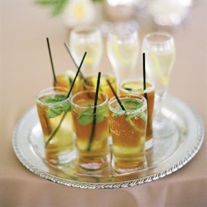 Drinks like French 77s, Pimm's Cups and mint juleps were served during the cocktail hour.