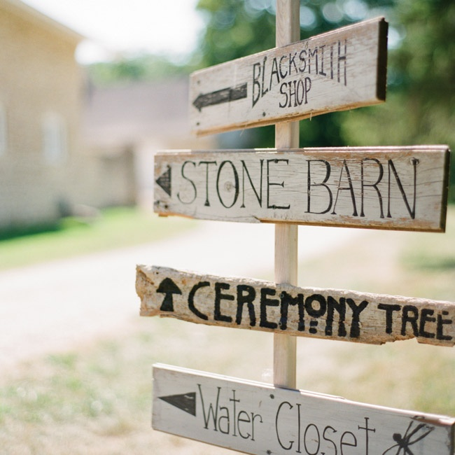Wooden signs directed guests to different parts of the property.