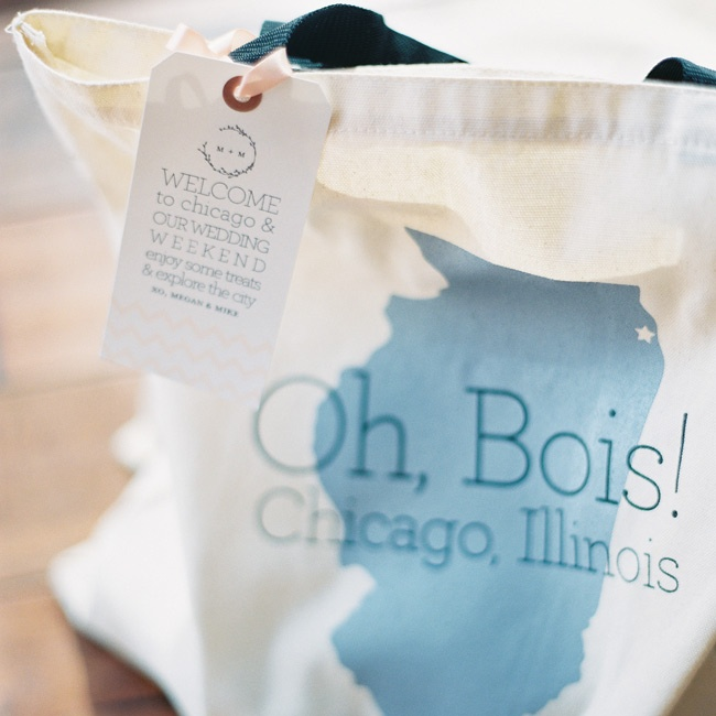 Out-of-town guests got fun welcome bags filled with local goodies and ideas for things to do in the city.