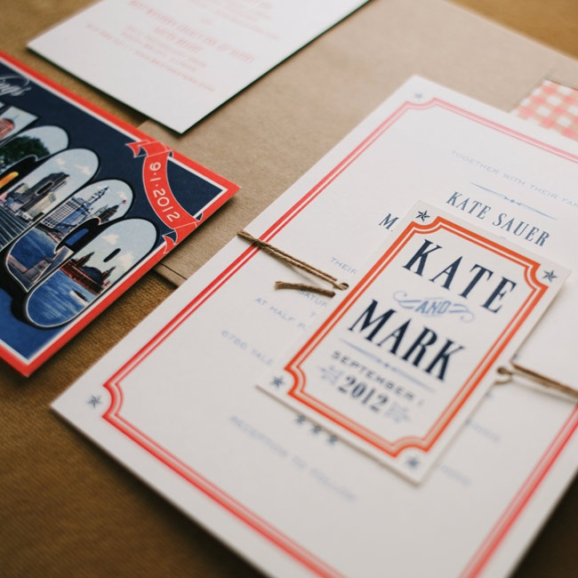 The couple's wedding invites featured the picnic vibe that Kate was after.