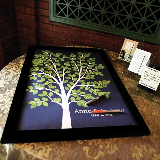 Guests signed the couple's personalized tree print.