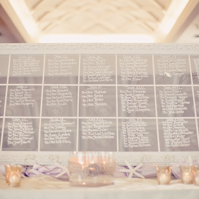 The bride and her mom made the seating chart on an old mirror with hand-calligraphed names.