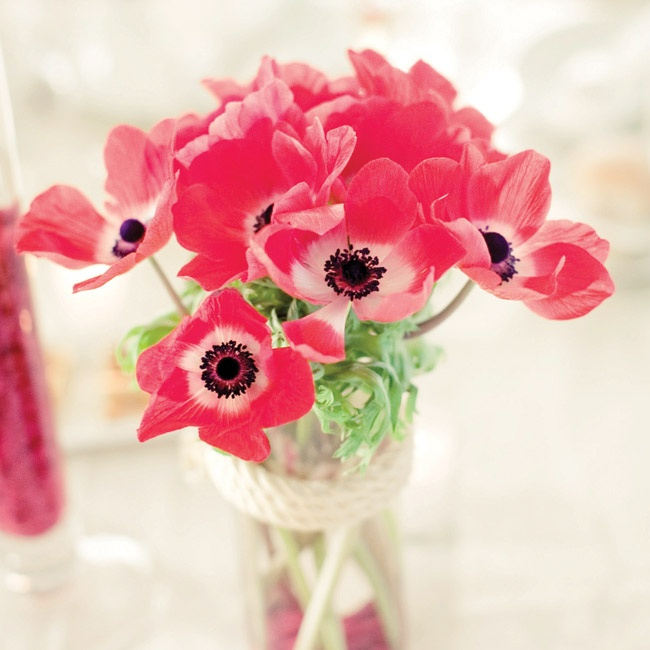 Vibrant red anemones were tucked into glass vases that were wrapped with rope.