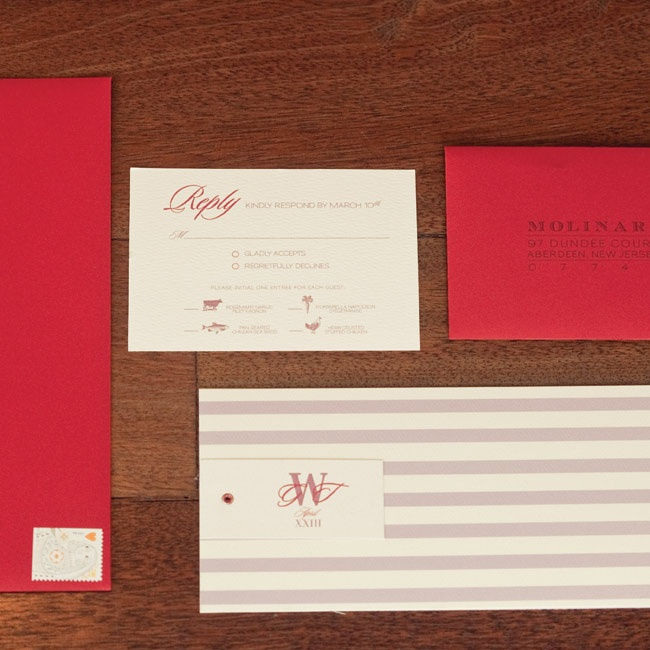 The couple's horizontal invitations incorporated their lavender and red color palette and played with 