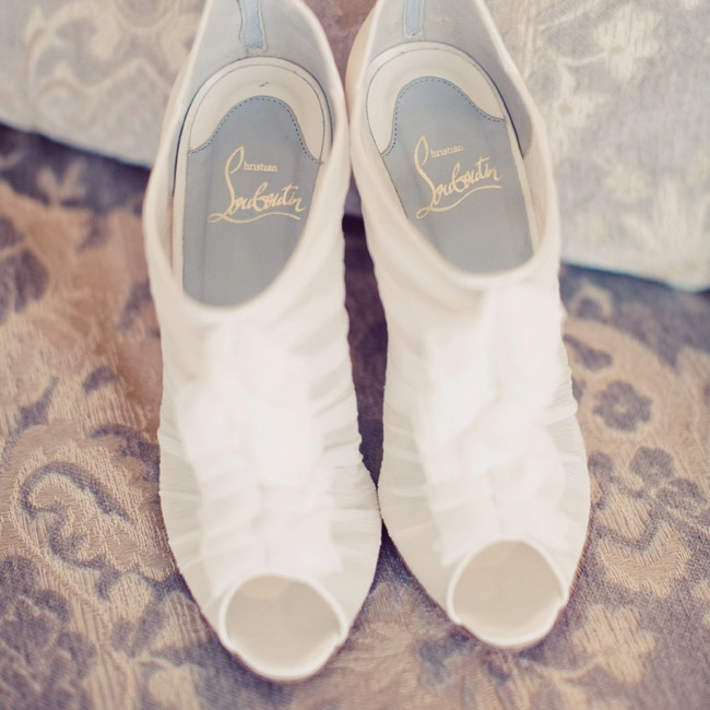 GinaRose wore these old-fashioned white silk tulle booties.