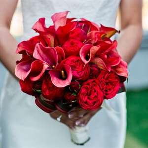 Red Calla Lily and Garden Rose Bouquet