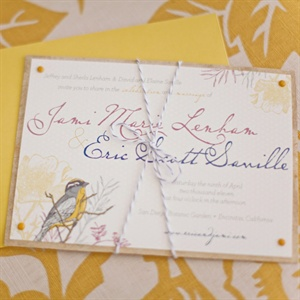 The custom invitations were printed in the wedding colors and featured a small Meadowlark to tie into the garden venue.