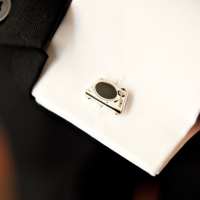 The hip-hop theme could be seen even in the tiniest wedding details, including the groom's turntable cufflinks.