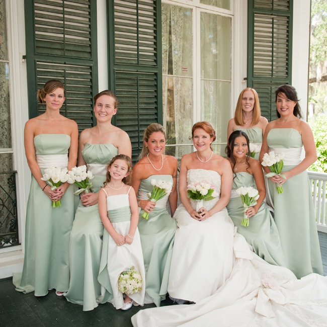 andrea 39 s bridesmaids wore strapless sage green dresses with white
