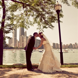 """Todd and I are both from Chicago, so to have a photo with the lake and city skyline in the background is something we wanted to capture,"" says Allison."