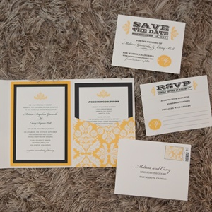 Yellow and Black Invitations