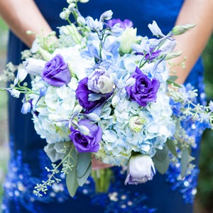 Blue and Purple Bridesmaid Bouquet