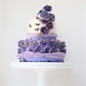 Purple Blossoms and Bees Cake