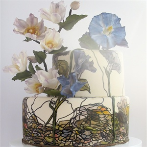Morning Glory and Watercolor Cake